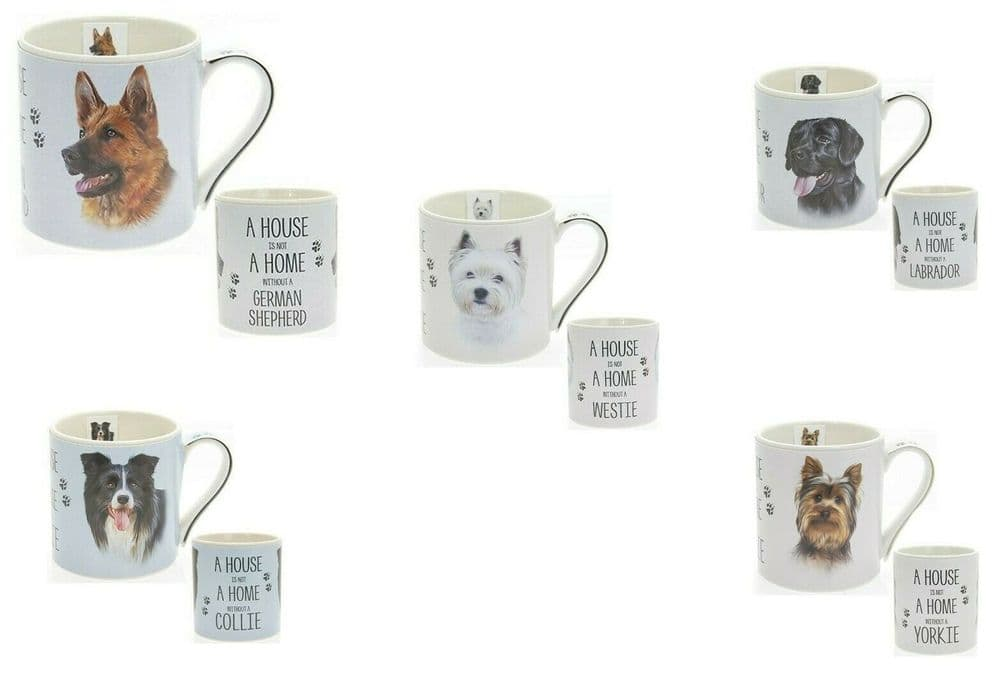 """Fine China Dog Picture """"A House is not a Home Without a.."""" Sentiment Boxed Mug"""
